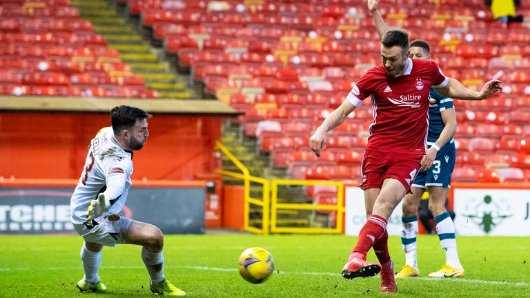 Aberdeen's Andrew Considine makes it 2-0 at Pittodrie against Motherwell