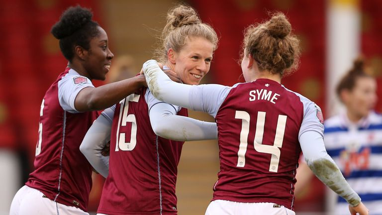 Anita Asante, Nat Haigh, and Emily Syme celebrate after Mana Iwabuchi's goal for Aston Villa Women against Reading