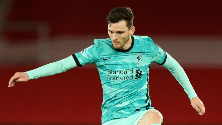 AP - Liverpool defender Andy Robertson in 2020/21 away kit