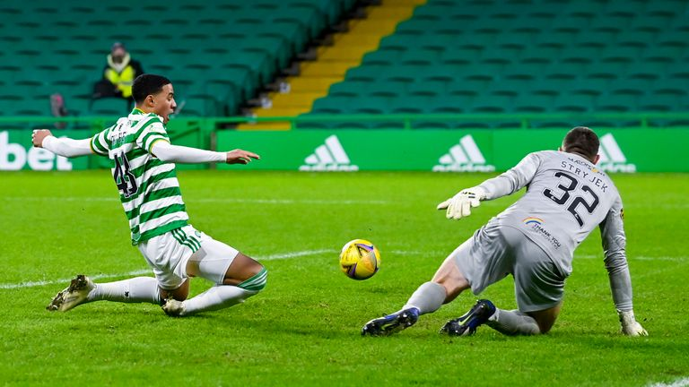 Armstrong Okoflex could not connect with an Anthony Ralston cross in another frustrating afternoon for Celtic