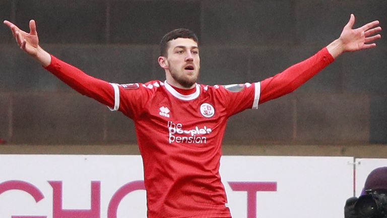 Ashley Nadesan celebrates scoring for Crawley against Leeds United in the FA Cup