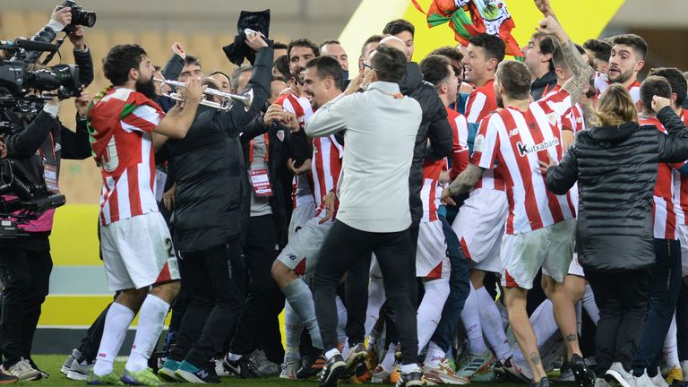 Athletic Bilbao celebrate their Super Cup victory in extra time