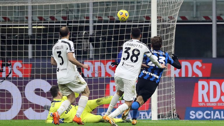 January 17, 2021, Milan, United Kingdom: Nicolo Barella of Internazionale scores to give the side a 2-0 lead during the Serie A match at Giuseppe Meazza, Milan. Picture date: 17th January 2021. Picture credit should read: Jonathan Moscrop/Sportimage(Credit Image: © Jonathan Moscrop/CSM via ZUMA Wire) (Cal Sport Media via AP Images)