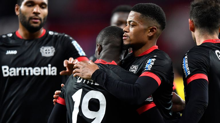 Moussa Diaby celebrates his goal with Leon Bailey and Jonathan Tah