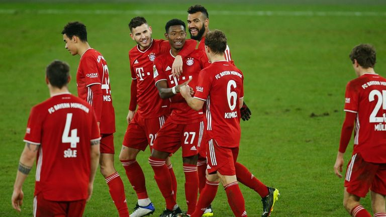 Bayern team-mates celebrate during the win over Schalke