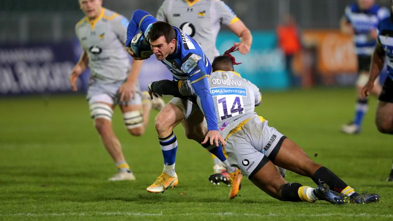 Ben Spencer is tackled by Wasps' Paolo Odogwu