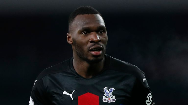 Crystal Palace's Christian Benteke during the English Premier League soccer match between Arsenal and Crystal Palace at Emirates Stadium in London, Thursday, Jan. 14, 2021. (AP Photo/Alastair Grant, Pool)