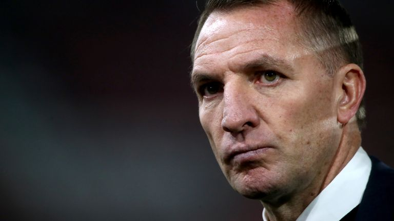 Leicester City manager Brendan Rodgers is interviewed at the end of the Premier League match at Bramall Lane, Sheffield.