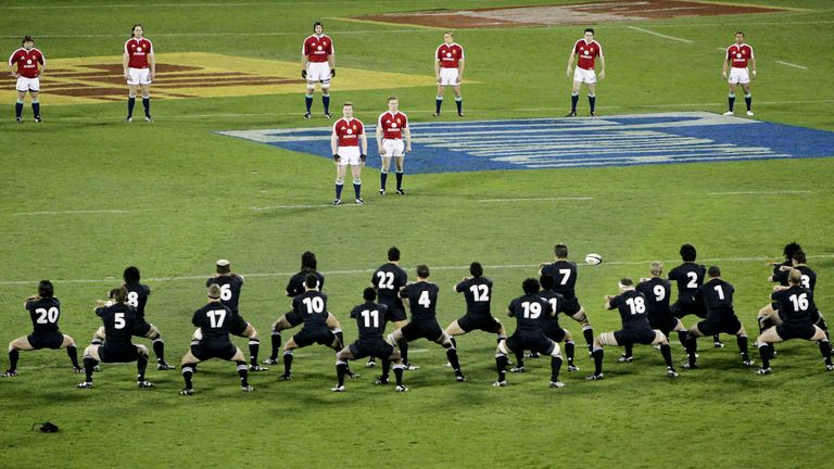 The Lions face the Haka ahead of the first Test against New Zealand in 2005