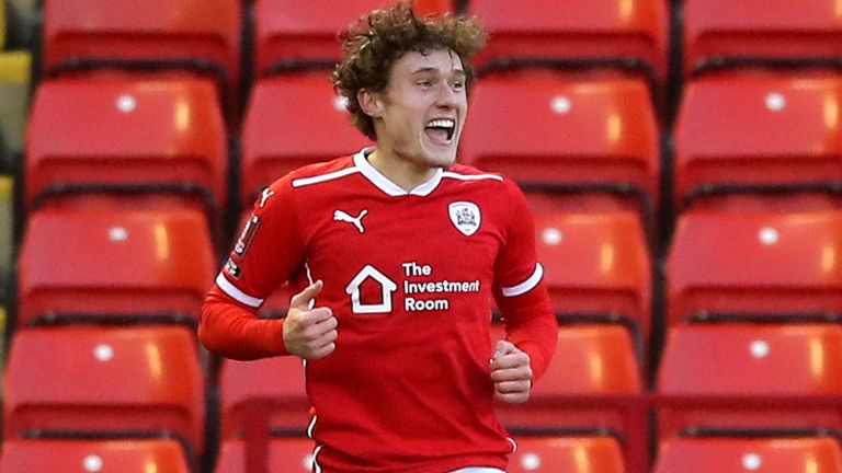 Barnsley's Callum Styles celebrates scoring against Norwich in the FA Cup