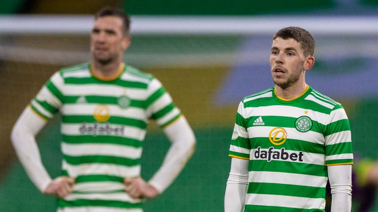 Ryan Christie is left dejected during the Scottish Premiership match