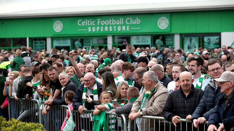 A general view of Celtic fans outside the stadium ahead of the Ladbrokes Scottish Premiership match at Celtic Park, Glasgow.