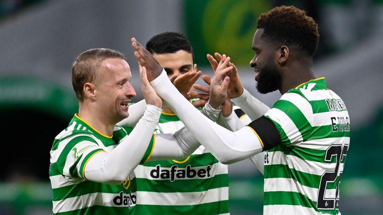 Odsonne Edouard celebrates with Leigh Griffiths as Celtic beat Hamilton 2-0