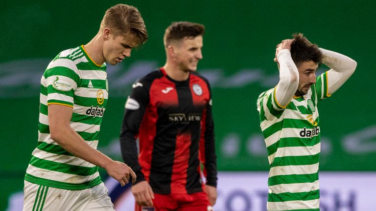 Celtic's Greg Taylor is left dejected during a Scottish Premiership match between Celtic and St Mirren