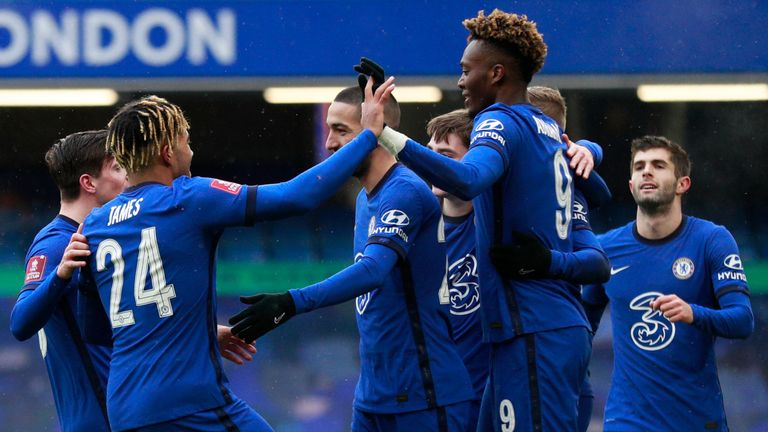 Chelsea's Tammy Abraham (front right) celebrates with team-mates after scoring his first goal against Luton