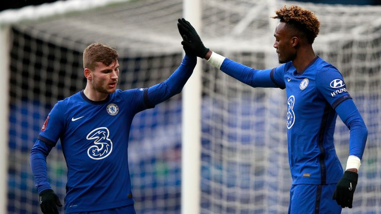 Chelsea's Tammy Abraham celebrates with team-mate Timo Werner after scoring his side's second goal against Luton