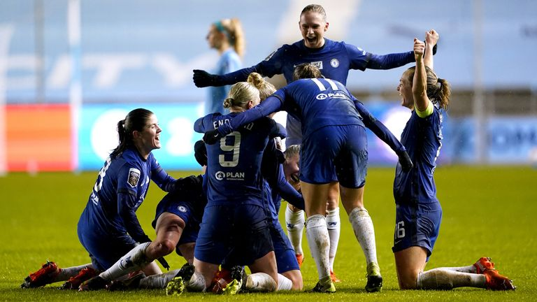 Chelsea celebrate during their 4-2 Women's League Cup quarter-final victory over Manchester City
