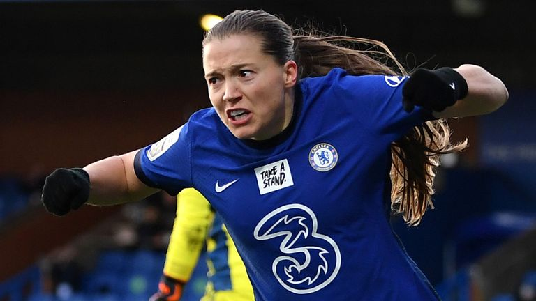Fran Kirby of Chelsea celebrates scoring the 2nd Chelsea goal during the Barclays FA Women's Super League match between Chelsea Women and Manchester United Women at Kingsmeadow