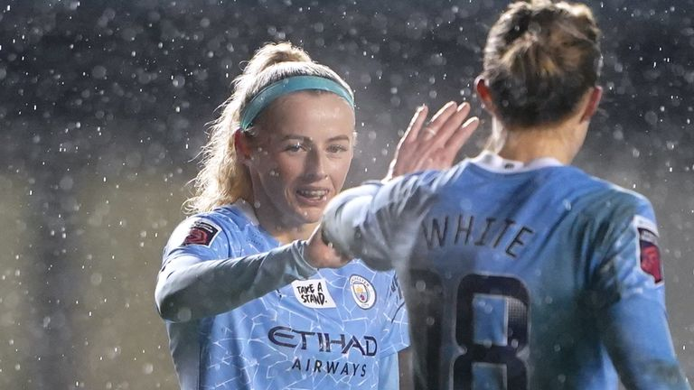 Manchester City forward Chloe Kelly celebrates levelling the score at 1-1 during her side's League Cup quarter-final against Chelsea