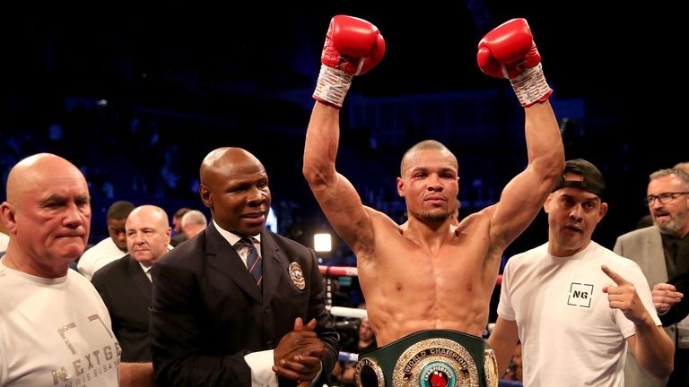 Chris Eubank Jr (second right) celebrates his victory against James DeGale in the Vacant Ibo Super-Middleweight Championship match with his dad Chris Eubank and trainer Ronnie Davis at the O2 Arena, London. PRESS ASSOCIATION Photo. Picture date: Saturday February 23, 2019. See PA story BOXING London. Photo credit should read: Nick Potts/PA Wire