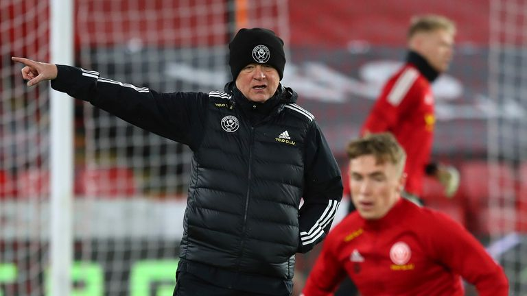 Chris Wilder takes a hands-on approach during a Sheffield United warm-up