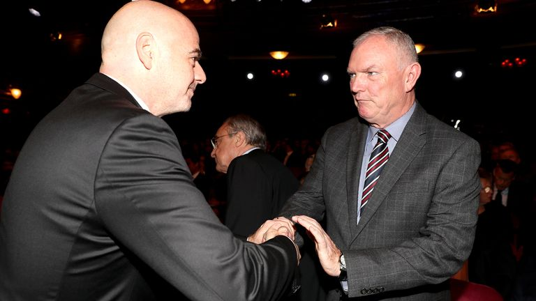 Pictured with FIFA president Gianni Infantino (L) back in 2017, Greg Clarke stood down from his vice-presidency role last year