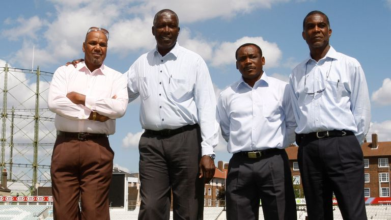 Colin Croft, left, Joel Garner, second left, Gordon Greenidge, second right, and Michael Holding were part of the great West Indies side of the 1980s