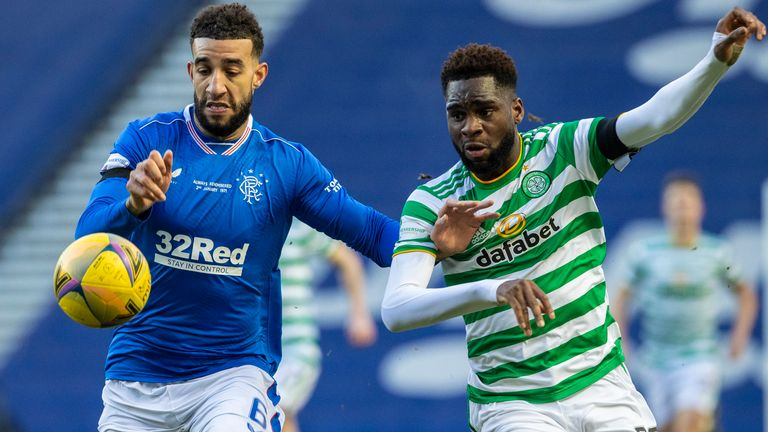 GLASGOW, SCOTLAND - JANUARY 02: Rangers' Connor Goldson (left) holds off Celtic's Odsonne Edouard during a Scottish Premiership match between Rangers and Celtic at Ibrox Stadium, on January 02, 2021, in Glasgow, Scotland (Photo by Craig Williamson / SNS Group)