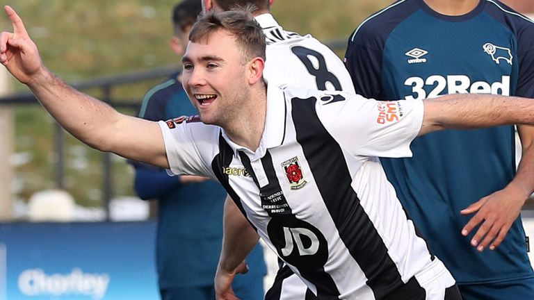 Connor Hall celebrates after giving Chorley the lead against Derby in the FA Cup third round