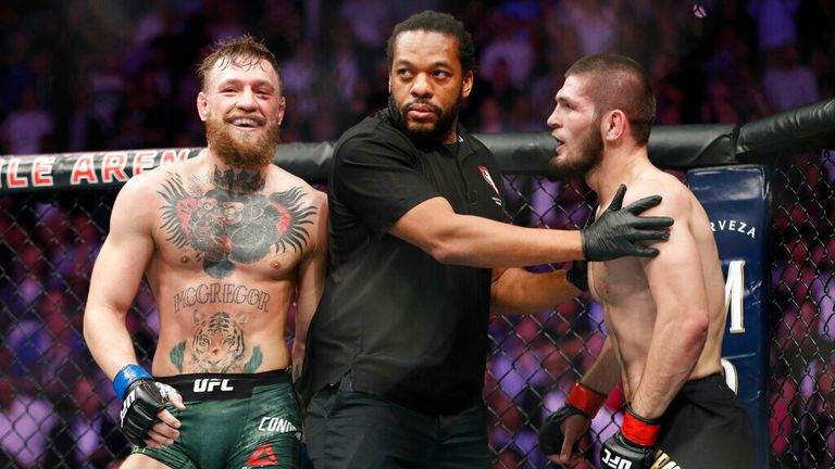 AP - Conor McGregor, left, fights Khabib Nurmagomedov are separated during a UFC 229 mixed martial arts bout in Las Vegas.