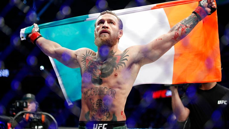 "AP - Conor McGregor celebrates after defeating Donald ""Cowboy"" Cerrone during a UFC 246 welterweight mixed martial arts bout Saturday, Jan. 18, 2020, in Las Vegas"
