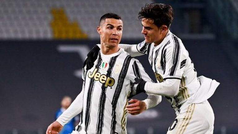 Ronaldo celebrates with Paulo Dybala after breaking the deadlock