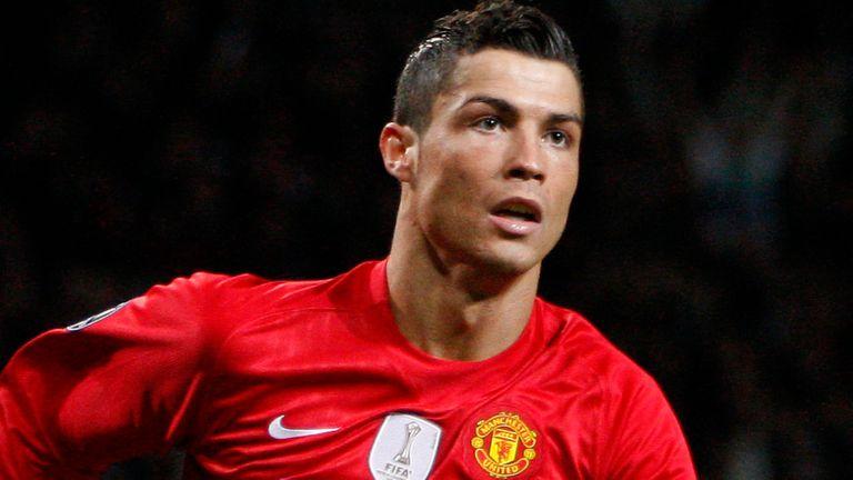 Cristiano Ronaldo celebrates scoring a goal for Manchester United