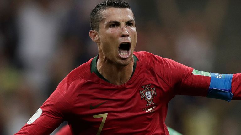 Cristiano Ronaldo celebrates scoring for Portugal at the 2018 World Cup