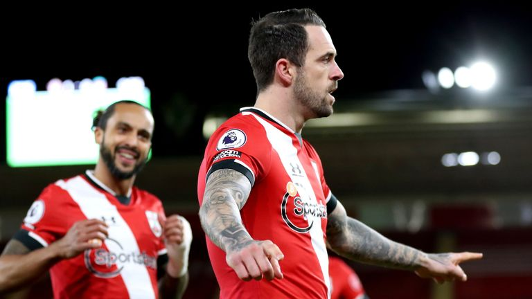 Danny Ings celebrates after giving Southampton the early lead against Liverpool