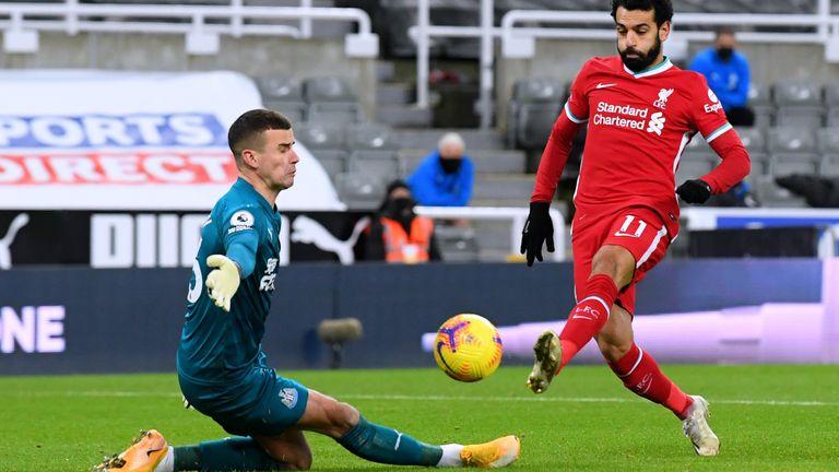 Karl Darlow saves from Mohamed Salah