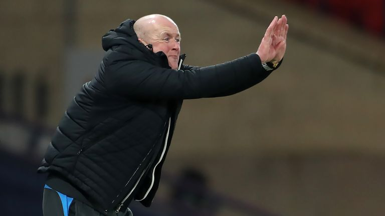 Livingston manager David Martindale reacts on the touchline