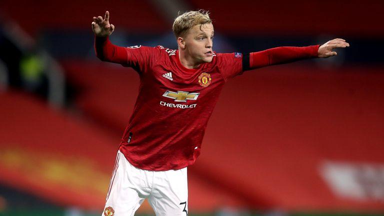 Donny van de Beek in action for Manchester United PA