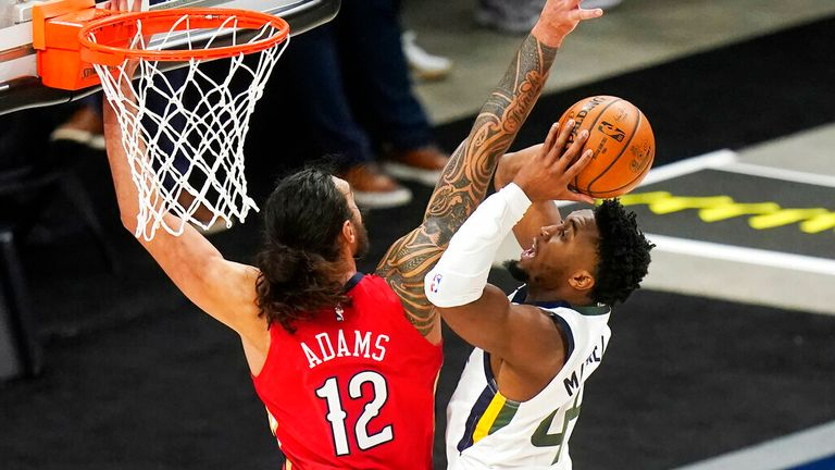 AP - New Orleans Pelicans center Steven Adams (12) defends against Utah Jazz guard Donovan Mitchell