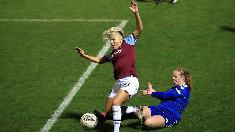 Durham's Kathryn Hill (right) tackles West Ham's Adriana Leon during the Women's League Cup quarter-finals