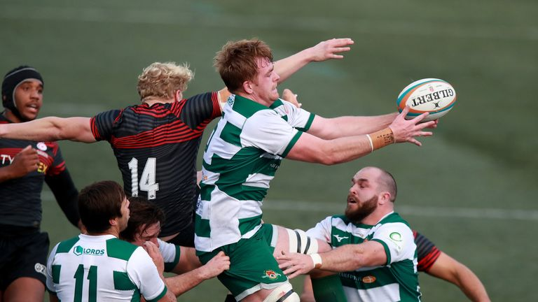 Ealing's Simon Linsell wins the ball in the air during his side's victory over Saracens