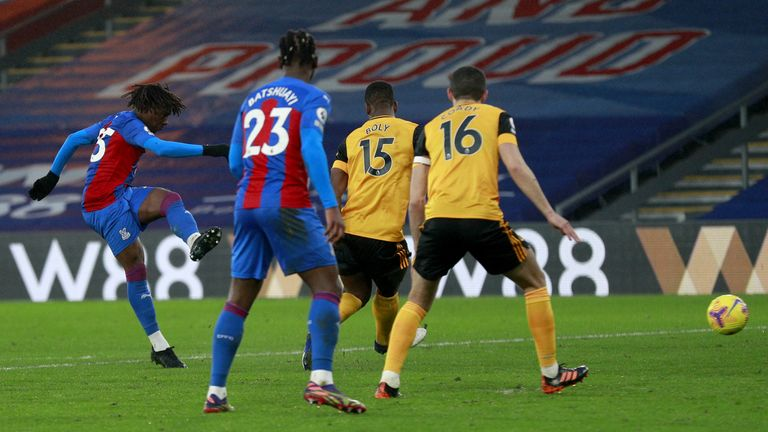 Eze fires home his third Premier League goal of the season for Palace