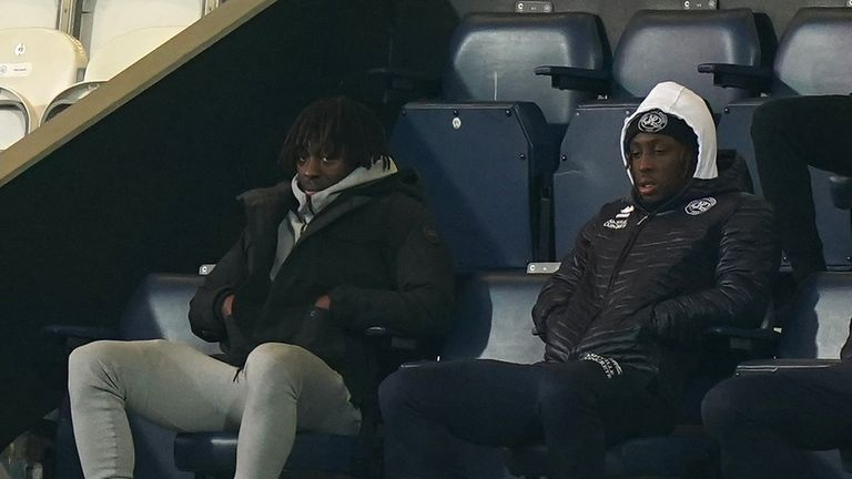 Crystal Palace's Eberechi Eze (left) watches the match from the stands during the Emirates FA Cup third round match at the Kiyan Prince Foundation Stadium, London.