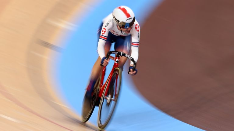 Barker won gold in the women's points race on day five of the 2020 UCI Track Cycling World Championships in Berlin