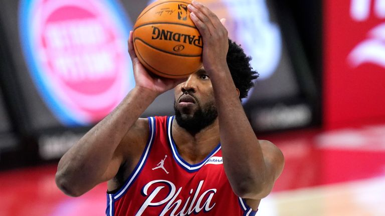 Philadelphia 76ers center Joel Embiid shoots during the second half of an NBA basketball game against the Detroit Pistons, Saturday, Jan. 23, 2021, in Detroit.