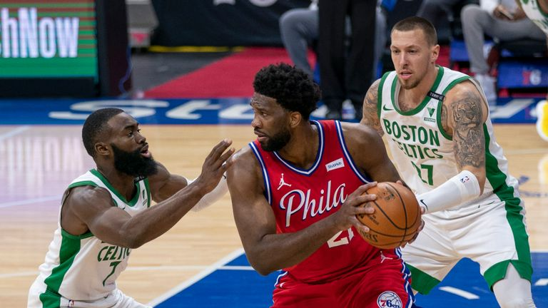 Philadelphia 76ers' Joel Embiid, center, in action against Boston Celtics' Jaylen Brown, left, and Daniel Theis, right, during the first half of an NBA basketball game, Friday, Jan. 22, 2021, in Philadelphia. The 76ers won 122-110. (AP Photo/Chris Szagola)
