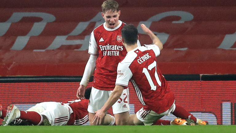 Emile Smith Rowe celebrates after giving Arsenal the lead in extra time against Newcastle
