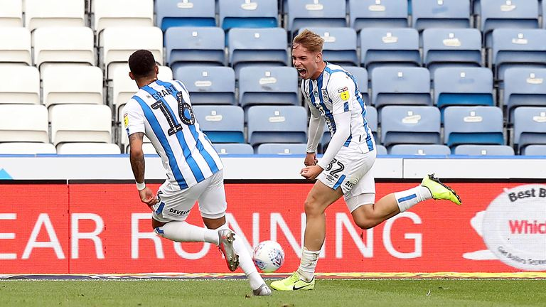 Huddersfield Town's Emile Smith Rowe celebrates scoring his side's second goal of the game during the Sky Bet Championship match at the John Smith's Stadium, Huddersfield. Friday July 17, 2020.