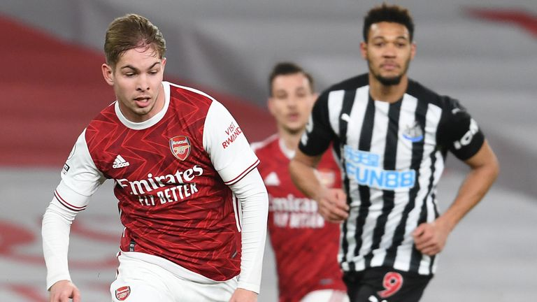 Emile Smith Rowe attacks for Arsenal during their 3-0 win over Newcastle