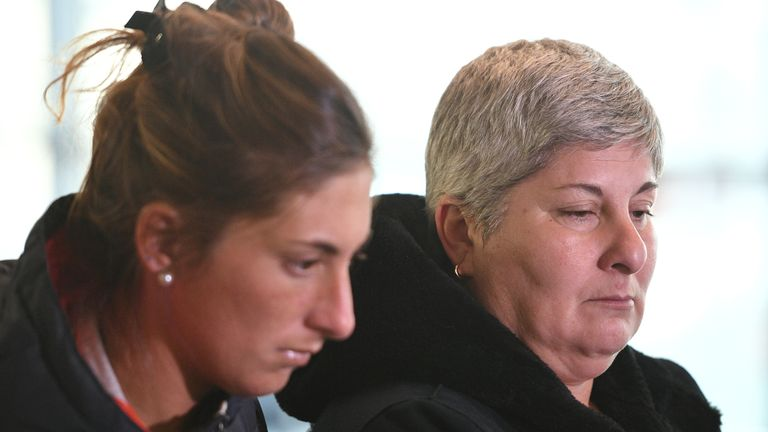 Emiliano Sala's sister Romina (left) and mother Mercedes